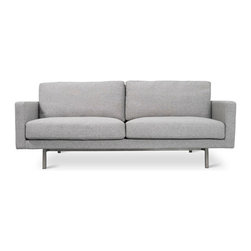 Gus Modern - Bloor Sofa, Totem Pebble - The Bloor Sofa combines a classic two-over-two design with refined details like a truss-style stainless steel base and elevated footprint. The base features exposed external supports on the back, which make the Bloor a striking design from every angle. Feather blend cushions and slender arms maximize comfort and lounge space. Made with 100% FSC-Certified wood, in support of responsible forest management.