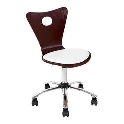"Valencia Office Chair - CHERRY/CREAM - The unique fan shaped back and round seat, set this office chair apart. The adjustable hydraulic post and 5-castor wheel base make it ultra functional. PRODUCT DIMENSIONS: 22""L x 22""W x 31.5 - 36.25""H"