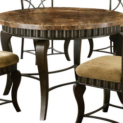 Steve Silver - Steve Silver Hamlyn Marble Top 44 Inch Round Dining Table - Compliment any kitchen/dining setting with the Hamlyn Marble-Top Dining Table. Wavy panels and decorative curved legs in a pewter finish accent the earth tone inspired marble top. What's included: Dining Table (1).