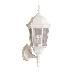 BUILDER - KICHLER 9653WH Madison Transitional Outdoor Wall Sconce - With its timeless colonial profile, the Madison is the perfect line of outdoor fixtures for those looking to embellish classic sophistication. Because it is made from cast aluminum and comes in an extensive amount of different finishes, this Madison 1-light wall lantern can go with any home decor while being able to withstand the elements. It features a White finish with clear beveled glass panels. U.L. listed for wet location.