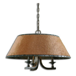 Uttermost - Uttermost 21258  Tundra 3 Light Rustic Chandelier - This rustic chandelier features warm brown faux fur with bold rivet details on both the upper and lower trim bands in a complex antique verdigris finish showing hints of green, black and gray. a traditional look with an updated twist.