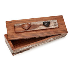 Inova Team -Rustic Wooden Handmade Sandlewood Box - Skilled Mozambican artisans lend their impressive woodworking talents to this amorous keepsake box hand-carved out of aromatic sandalwood. Smooth slats of polished wood are offset by rustic accents and romantic touches including petite hearts in contrasting hues. The hand of the maker can be seen in the careful execution of each one-of-a-kind work of art. When given as a gift, the vessel provides an eye-catching and enduring home for the treasures of your choosing to be found within. Handmade in Mozambique.