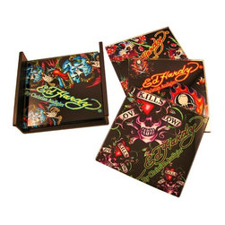Zeckos - Set of 4 Ed Hardy Skulls Black Glass Coasters - Keep your bar, coffee table or end table free of condensation rings with this officially licensed set of 4 black glass Ed Hardy 'Skulls' coasters. The coaster come in 4 different patterns, each with an iconic Ed Hardy skull tattoo design. They measure 4 inches by 4 inches. They make a great gift for any Ed Hardy fan.