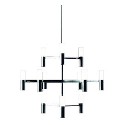 """Nemo Italianaluce - Nemo Italianaluce Crown Minor Chandelier by Nemo Italianaluce - Product Details:  The Crown Minor Chandelier was designed by Markus Jehs and Jurgen Laub in 2009 for Nemo Italianaluce.  The Crown Minor chandelier is perfect for someone wanting a modern twist on a classic candelabra chandelier. It fits perfect in a large contemporary space with high ceilings.  Available in two finishes, polished aluminum or white, both have a red cord which adds an additional flare. Shown in the white        Product Details:  The Crown Minor Chandelier was designed by Markus Jehs and Jurgen Laub in 2009 for Nemo Italianaluce.  The Crown Minor chandelier is perfect for someone wanting a modern twist on a classic candelabra chandelier.  It fits perfect in a large contemporary space with high ceilings.  Available in two finishes, polished aluminum or white, both have a red cord which adds an additional flare. Shown in the white.  Details:     Manufacturer:  Nemo Italianaluce     Designer: Markus Jehs & Jurgen Laub   Made in: Italy   Dimensions: Height: 21"""" (53.3cm) Width: 31 """" (78.74m)   Light bulb: 12 X 20W G9 Halogen bulbs    Material: die cast aluminium"""