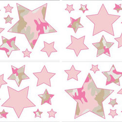 Sweet Jojo Designs - Camo Pink Wall Decal Set of 4 Sheets by Sweet Jojo Designs - The Camo Pink Wall Decal Set of 4 Sheets by Sweet Jojo Designs, along with the  bedding accessories.