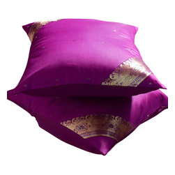 Indian Selections - Set of 2 Violet Red Decorative Handcrafted Sari Cushion Cover, 24x24 inches - 6 Sizes available