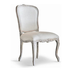 Eloquence - Colette French Country Duck Egg Taupe Fog Linen Dining Side Chair - This pair of silver-grey upholstered chairs complement a formal dining room or a romantic living room. Versatile and beautiful, the floral carvings are highlighted in a shimmering silver. Belgian Fog linen cushions offer comfortable seating for your friends and family.