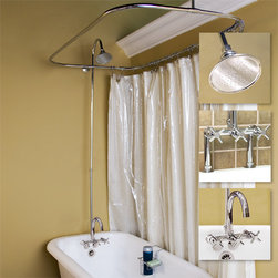 Sebastian Shower Conversion Kit - Rim Mount Faucet - Cross Handles - This rim mount shower conversion kit features a gooseneck faucet with metal cross handles and brass showerhead. Includes everything you need to set up your clawfoot tub for a shower.
