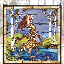"""Meyda Tiffany - Meyda Tiffany 79984 Stained Glass Tiffany Window Tiffany Window Collect - 22"""" W X 22"""" H Ecstasy In Woodland Stream WindowDesigned By Meyda Tiffany Artists And Hand Crafted With A Selection Of Colors And Textures, This Vision Of A Fair Maiden Bathing In Rippling Azure WaterIncludes Mounting Brackets and Chains"""