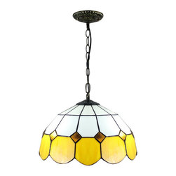 Tiffany Stained Glass Yellow Trimmed Mediterranean Style Pendant Ceiling Lights - Tiffany style lamps received a high reputation among lighting fixture holders as it is an effective way to enhance home decor. With a carefully handmade shade with color of yellow and white, this Tiffany style ceiling light will give your decor a chic touch of elegance. This lovely lighting fixture looks amazing over counters, tables and seating areas.