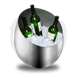 """VinoGrotto - Silver Oversized Ice Bucket - This Silver Ice Bucket is an essential for those who love to entertain! Its large size and sophisticated modern design will allow you to cool your beverages in style. This ice bucket can be a centerpiece for get-togethers or be used as a display for bars and restaurants. Aluminum with silver finish. Oversized, can accommodate many bottles of wine or champagne! Dimensions: 15"""" diameter x 17"""" tall"""