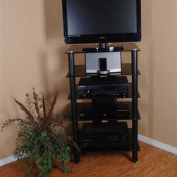 Tier One Designs - Black Glass TV Stand-Audio Rack - 8mm tempered clear glass. Easy to assemble. 24 in. W x 20.25 in. L x 39.5 in. H. Accommodates 25 in flat panel TV. Assembly instructionsOrganize your high tech, state of the art home electronics gear with this refined polished aluminum TV Stand.  Stand features five tempered 8mm clear glass shelves providing ample space to store audio and gaming components, DVD, docking stations and much more.  The cord management system reduces unsightly wires. Accessories not included.