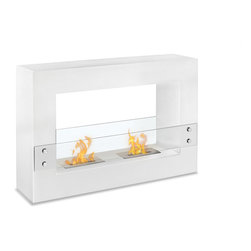 "Ignis - Tectum White Freestanding Ventless Ethanol Fireplace - The beauty of this Tectum White free standing Ventless Ethanol Fireplace will warm your heart while its ethanol burner will warm your toes. You'll love its bold, modern look with its white metallic frame and clear glass guard that protects little fingers from the dual ethanol burners inside. This fireplace is ventless, so you don't need to worry with soot, ash, mess, and fuss like you would with a traditional wood burning fireplace, and there's no need for a chimney, electric lines, or gas lines. It is easy to install and its sleek metallic look blends in well with nearly any decor. It burns up to five hours per refill and puts out 12,000 BTUs of heat. Dimensions: 47.1"" x 31.5"" x 11"". Features: Ventless - no chimney, no gas or electric lines required. Easy or no maintenance required. Freestanding - can be placed anywhere in your home (indoors & outdoors). Capacity: 1.5 Liter per Burner. Approximate burn time - 5 hours per Burner per refill. Approximate BTU output - 6000 per Burner (Total BTU - 12000)."