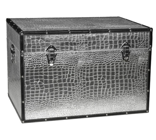 Oriental Furniture - Faux Leather Silver Crocodile Trunk - This fine trunk features a fun and fetching faux crocodile skin pattern in metallic silver. Printed on high quality textured vinyl, this chest is sure to be a unique addition to your home decor. The silver handles, clasps, rivets, and hinging match the lustrous print, and the black faux leather edging provides the perfect contrast. Featuring sturdy yet lightweight wood construction and a soft, fabric lined interior, this trunk is ideal for fashionably expanding your existing storage space. Designed for your convenience, it features an inconspicuous interior arm that holds the lid when you need it open, and a pair of external closures that keep it shut tight when you don't. Whether you are looking for extra storage or just add a splash of color to a room, this trunk is sure to be a lively addition to your decor.