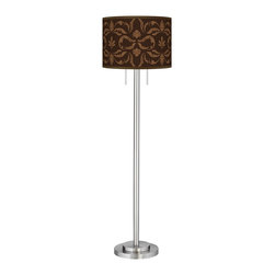 "Giclee Glow - Contemporary Mocha Flourish Linen Giclee Nickel Garth Floor Lamp - Brushed nickel finish. Metal construction. Custom made-to-order drum shade. Mocha Flourish Linen giclee printed pattern. Two maximum 100 watt or equivalent bulbs (not included). Pull chain switches. Shade is 18"" wide 12 3/4"" high. 63"" high. 12"" wide base.   Brushed nickel finish.  Metal construction.  Custom made-to-order drum shade.  Mocha Flourish Linen giclee printed pattern.  Two maximum 100 watt or equivalent bulbs (not included).  Pull chain switches.  Shade is 18"" wide 12 3/4"" high.  63"" high.  12"" wide base."