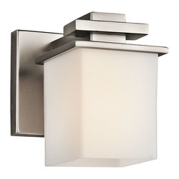 Kichler 1-Light Bath Fixture - Antique Pewter - One Light Bath Fixture. From the Tully collection, this lighting wall sconce can be installed as an uplight or downlight. It features a contemporary silvery antique pewter finish paired with a cubic satin etched cased opal glass shade.