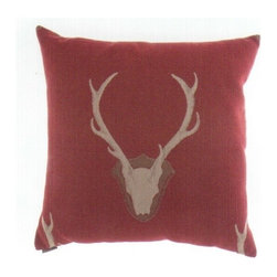 "Canaan - 24"" x 24"" Uncle Buck Red Background Deer Head Print Fabric Throw Pillow - 24"" x 24"" Uncle Buck red background deer head print fabric throw pillow with a feather/down insert and zippered removable cover. These pillows feature a zippered removable 24"" x 24"" cover with a feather/down insert. Measures 24"" x 24"". These are custom made in the U.S.A and take 4-6 weeks lead time for production."