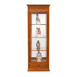 China Furniture and Arts - Rosewood Ming Design Display Cabinet - Exhibiting its pleasing simple lines in a distinct Ming (1368-1644) style, this exquisite curio cabinet is perfect for your treasured collectibles. Hand crafted in solid rosewood using traditional joinery techniques by artisans in China. Mirror back, museum quality halogen lights and three adjustable shelves inside for your convenience. Hand-carved groove door pull and longevity design drawer pull complete the minimalist look. Its natural rosewood finish enhances the beauty of the wood grains. (Assembled.)