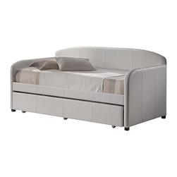 Hillsdale Furniture - Springfield Daybed in White Faux Leather - Includes Daybed and Suspension Deck. Mattress and Trundle not included. White Faux Leather. Assembly Required. 84 in. L x 42 in. D x 43 in. HWhether you choose it for a teens bedroom or need it as a guest bed in your office or den, the Springfield daybed is a marvelously modern solution.The easy to care for faux leather and rounded edges add to this daybeds allure.