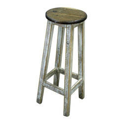 Four Legged Stool - Four Legged Stools in a distressed finish. Assorted colors, call for details. Limited stock on these, so order now!!