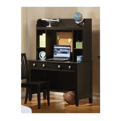 Winners Only - Del Mar Desk in Ebony Finish - Includes only desk. Hutch is optional. Desk with three drawers and one shelf. Hutch with three shelves. Desk: 44 in. W x 21 in. D x 30 in. H. Hutch: 42 in. W x 11 in. D x 30 in. H