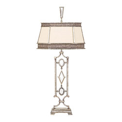 Fine Art Lamps - Encased Clear Crystal Gems Table Lamp, 729810-3ST - Bring this gem of a lamp into your home. Clear or different colored crystals set into a vintage silver-leaf finish set off the simple hand-sewn silk shantung shade to fabulous effect.