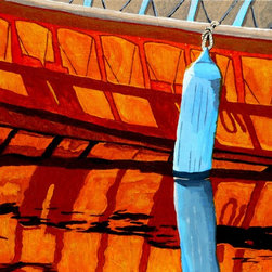 The Blue Fender, Original, Painting - Capture the light of a day on the water with this vibrant acrylic painting, rendered beautifully by artist Anthony Dunphy. This reflective piece of a canoe and boat fender will add color and verve to any wall in your home.