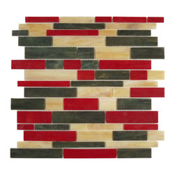 "Glass Tile Oasis - Oak Random Bricks Red Brick Victorian Glossy Glass - Sheet size:  11 5/8"" x 11 3/4""        Tile Size:  Random Bricks        Tiles per sheet:  59        Tile thickness:  1/8""        Grout Joints:  1/8""        Sheet Mount:  Mesh Backed        NOTE: Iridescent colors not recommended for water line applications in pools/spas    Sold by the sheet     -  Bring bold  dazzling style to any space with Victorian  a collection made from vibrant stained glass. This series stands out for its beautiful patterns and meticulous attention to detail. They are suitable for variety of interior and outdoor spaces."