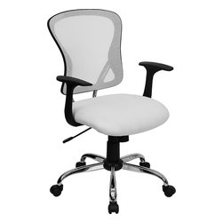 Flash Furniture - Flash Furniture Mid-Back White Mesh Office Chair with Chrome Finished Base - Sporting a contemporary look and ergonomic design, this mesh covered office chair from Flash Furniture is perfect for any office setting, but is economically priced to be affordable for most home office users. featuring an open mesh back with passive lumbar support, a thickly padded mesh covered seat, and a chrome finished base, this chair is sure to be an attractive and comfortable addition to any setting. [H-8369F-WHT-GG]