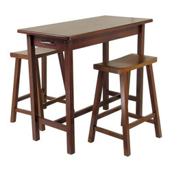Winsome Wood - Wooden Pub Table Set w Saddle Style Stools - Entertaining is always more enjoyable when you create the right setting.  This pub set is classic in style, but can be a charmer in traditional or contemporary decor.  Stools feature an A-frame design with saddle seats and the table is a perfect match in an antique walnut finish.  Yippee kai-yeah, this wooden pub table with two saddle style stools is a must have for any casual dining or bar area.  Table measures 39 inches long, 20 inches wide, 33 inches high. * Includes Table w (2) Stools.. Table: 39.37 in. L x 19.69 in. W x 33.27 in. H