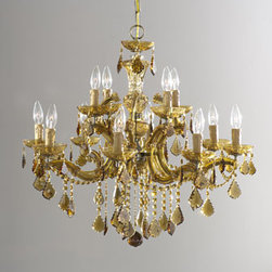 "Horchow - 12-Light Amber Chandelier - Hand-cut, golden teak-hued crystals give the room a warm glow, even before you turn on the light. Iron frame has an antiqued brass finish. From Crystorama. Four-light chandelier uses 60-watt bulbs and has a 3'L chain. 16.5""Dia x 12.5""T. 12-light chand..."