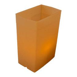 FLIC Luminaries, LLC - Brown FLIC Luminaries, Set of 12, Candles & Holders - 12 Brown FLIC Luminaries with Candles and Holders.