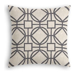 Charcoal and Natural Modern Trellis Custom Throw Pillow - The every-style accent pillow: this Simple Throw Pillow works in any space.  Perfectly cut to be extra fluffy, you'll not only love admiring it from afar but snuggling up to it too! We love it in this teal geometric trellis on thick natural cotton. A bold statement of modern meets rustic.