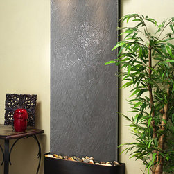 """Lightweight Slate Wall Water Features - The Inspiration Falls w/ LW Black Slate - The Inspiration Falls Wall Fountain with LW Slate Face is a wonderful purchase and you can feel good about your purchase with a 100% money back guarantee. All of our wall fountains like the Inspiration Falls come with a one year warranty. To absolutely assure the lowest price we are proud to offer a price match guarantee on any competitor's price. Using the Inspiration Falls interior waterfall in your home or office will give the room a great relaxing feeling, and a life like """"at one with nature"""" atmosphere. The natural stone face compliments the powder coat finished frame to create an earthy, rustic feel. This wall water feature is a great way to create a peaceful environment and will serve as the visual center-point in any space."""