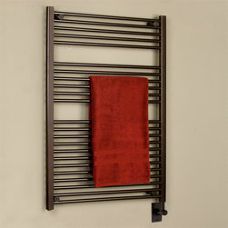 "30"" Nashua Extra-Tall Hardwired Towel Warmer - Featuring a sleek, contemporary design, the Nashua Extra-Tall Hardwired Towel Warmer has 23 rails to accommodate multiple towels. Made of durable steel, this luxury towel warmer is liquid filled, resulting in even heat for your towels."