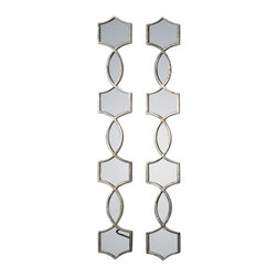 Uttermost Vizela Metal Mirrors Set/2 - Hand forged metal finished in an plated oxidized silver. Hand forged metal finished in an plated oxidized silver. May be hung horizontal or vertical.