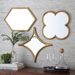 Monte Mirrors - I love adding brass in accessories, like these beautiful mirrors.