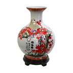 """Oriental Furniture - 12"""" Cherry Blossom Porcelain Vase - Shapely vase in an old """"wine bottle"""" style with a round body and a long narrow neck. The vibrant red cherry blossoms, white cranes, and black calligraphy characters are auspicious Asian symbols for happiness and peace. Display alone or in pairs, empty or with flowers or bamboo."""