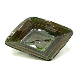 Artistica - Hand Made in Italy - IVV Glass: A Freak Plate Square Green - IVV Glass and Class