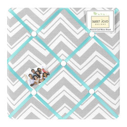 Sweet Jojo Designs - Zig Zag Turquoise and Gray Fabric Memo Board by Sweet Jojo Designs - The Zig Zag Turquoise and Gray Fabric Memo Board by Sweet Jojo Designs, along with the bedding accessories.