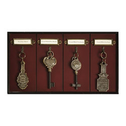 """Grand Hotel Key Rack - The grand hotel key rack measures 16.25 x 1.25 x 9"""". We love the key racks and mail cabinets of the classic Grand Hotel concierges. They knew all and everything, and best anticipated the whims and wishes of their clients. Our small four-hook rack is a faithful representation that can be used to hang the keys of your Bentley Continental GT, or the lawn mower. It's consists of maple and veneered MDF - French finished. Hand crafted cast brass hardware. Keys not included."""