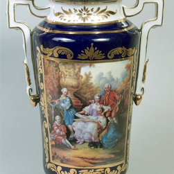 AA Importing - Romantic Scene Porcelain Vase - Porcelain. Dark Blue with romantic scene. Gold handles and trim. 14 in. H