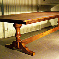 """Farmhouse Table - Farmhouse Table made from reclaimed barn wood, 6'L x 38""""W x 30""""H, Sheffield Double Pedestal Trestle Table with Apron, Stained Hazelnut, Standard Medium Distressing"""