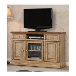Winners Only - Quails Run 55 in. TV Cabinet - Two drawers. Three doors. Almond and wheat finish. 55 in. W x 18.5 in. D x 34 in. H