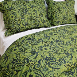 Cokas Diko - Cokas Diko Green Paisley Duvet Set, King - Surround yourself with the electrifying radiance of our Green Paisley Duvet Set.  Striking greens and blues fused with an intoxicating paisley pattern this duvet packs a punch.  Super soft incredibly comfortable a Cokas Diko exclusive. Our king duvet set comes with 2 king coordinating shams. Pattern reverses to self. Created with 300 thread count pre washed percale cotton. Machine washable.