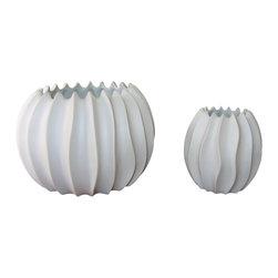 Bahari - Porcelain Neptune Vase, Extra Small - Porcelain Neptune Vase. White matte finish
