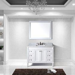 VIRTU - Virtu USA Tiffany 48 inch Single Sink White Vanity with Carrara White Marble Cou - Virtu USA Tiffany 48 inch single sink vanity makes a bold statement with defined,straight lines and strong features. The Tiffany comes with two soft closing doors,six soft closing drawers,and an Italian Carrara White Marble top.