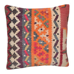 Turkish Import - Bright And Colorful Matching Kilim Pillow Cover - Please reference K-16-12 if you are interested in a matching pillow cover. This colorful hand woven Turkish Kilim Pillow Cover will surely light up any décor.  Traditional Tribal designs done in colorful patterns.  Please note:  Pillow insert not included.