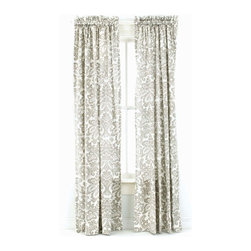 Imperial Damask Platinum Window Panels - 50 x 90 - The elaborate pattern of the Imperial Damask Platinum Window Panels makes the simplicity of the design classically regal.  Made with durable machine-washable cotton, these unfussy drapes flatter your room with a chic silvery-grey on white print, but add a hint of luxe depth with a brief header to gather above your curtain rod.  The effect is breathtaking: neutral, yet faintly opulent.