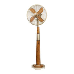 "DecoBreeze Origin Standing Floor Fan - Oscillating ""Origin"" in vintage gold with distressed wood grain and geometric design. Urban elegance for any room standing 54.5"" tall with adjustable tilting fan head."